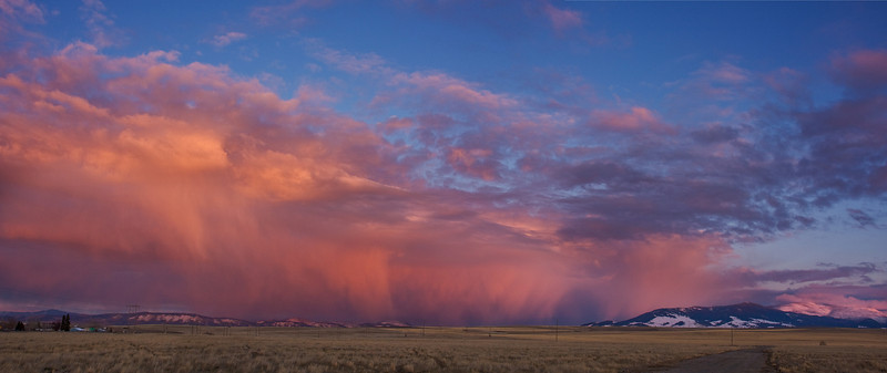 East Helena Sunset.  3 horiz stitched.