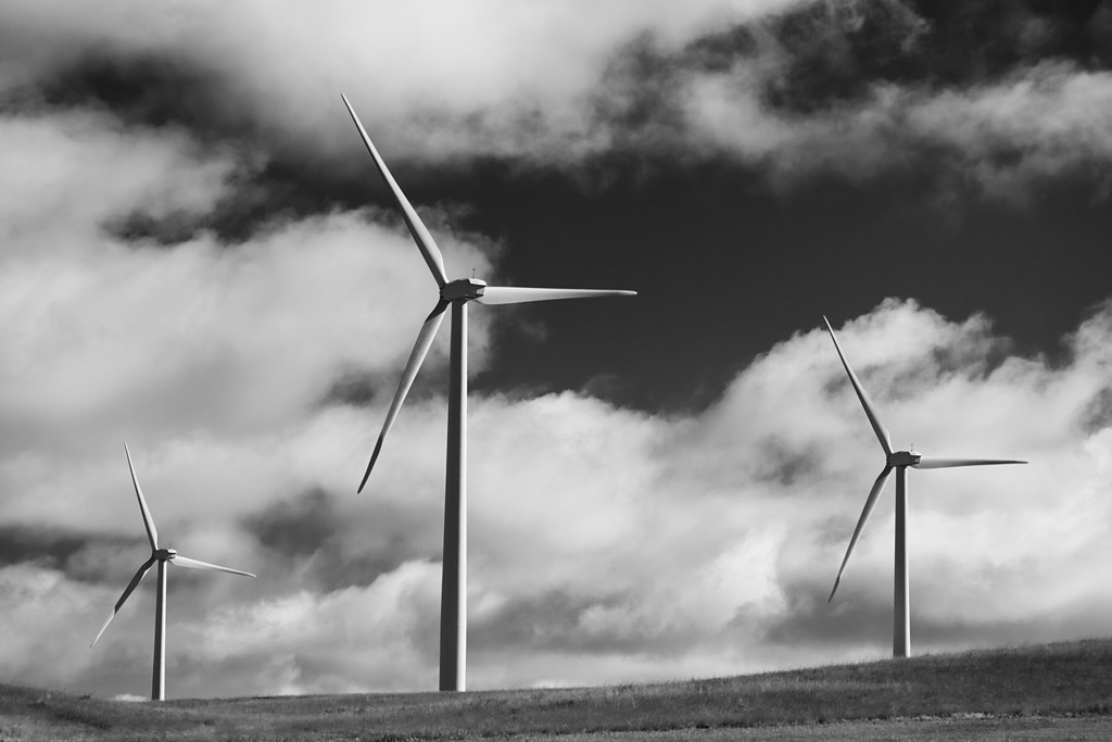 Montana Power (BW)<br /> Wind turbines off HWY 191