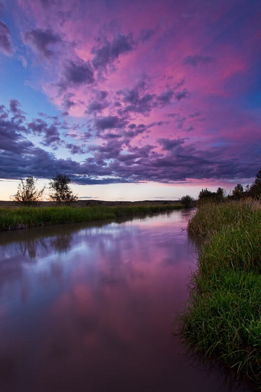 Sunset and Irrigation Canal in Billings Heights