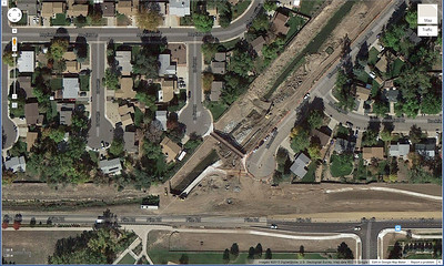 This is an overhead view of the work in progress to widen the creek path. Fortunately Longmont finished this work earlier this year.