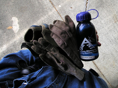 Had my official TMH purple leather gloves, knee pads, and my official Salinas/Monterey Agility Racing Team water bottle ready to go, so it would be almost exactly like being at an agility trial, at least as far as water bottles are concerned.