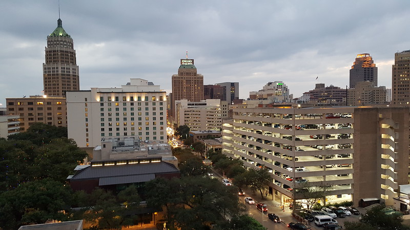 The view from our 11th floor hotel room at the Hilton Palacio Del Rio. Note that we had to park at the parking garage in view.