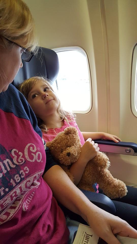 Laney ready to go on our flight to San Antonio