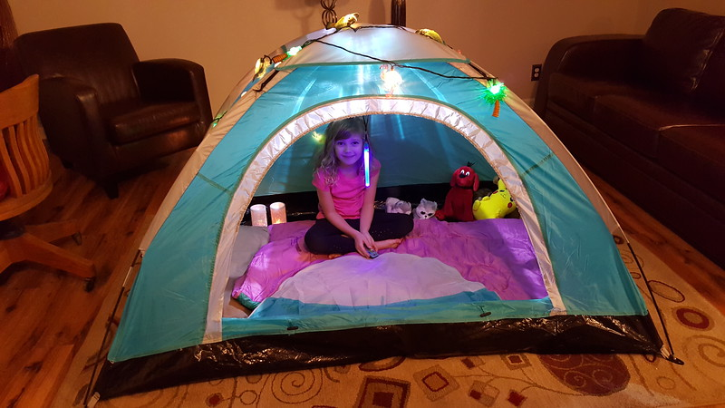 Laney in her tent at Nana's