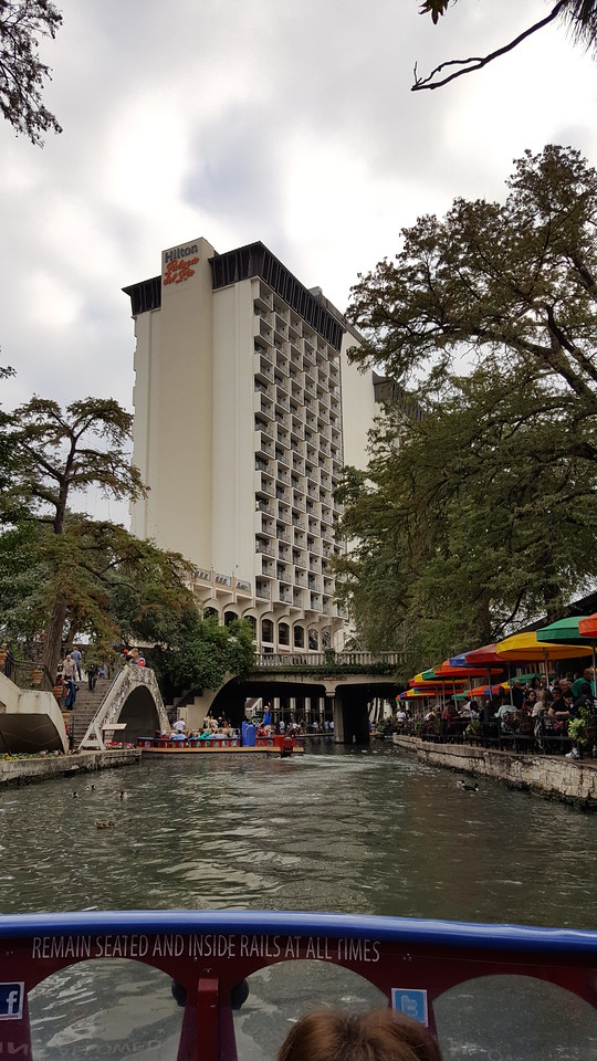 The view as we near the end of the river tour. That is our hotel - Hilton Palacio Del Rio in the distance.