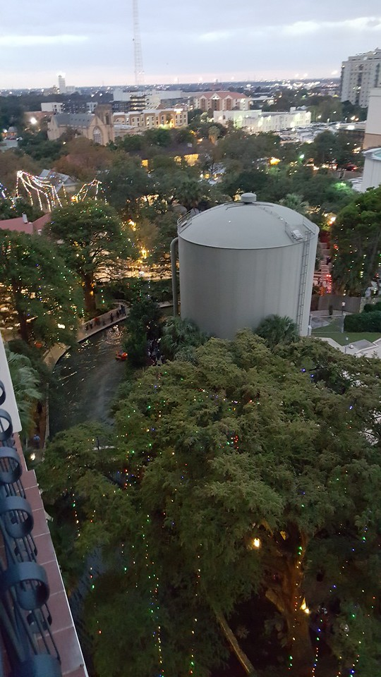 The view from our 11th floor hotel room at the Hilton Palacio Del Rio