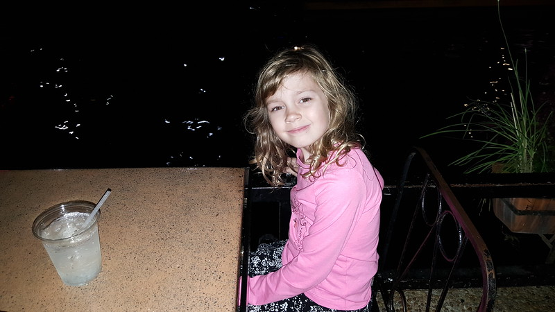 Laney at dinner at Casa Rio - one of the oldest Mexican restaurants in the city.