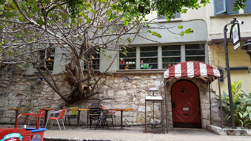 Neat tree growing out of an old Italian restaurant wall.