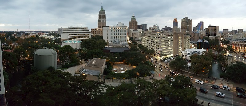 Panoramic shot from our hotel room at the Hilton Palacio Del Rio