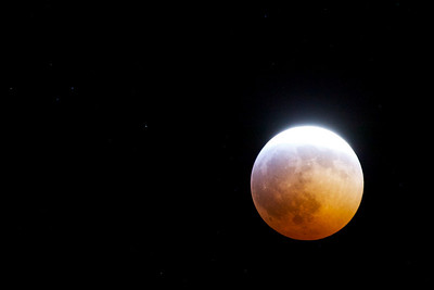 Lunar eclipse of 20 December 2010 at 23:29. Moon almost totally in penumbra. A few stars are visible.