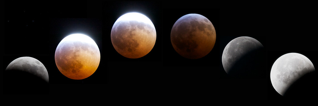 Photoshopped composite of six images of the lunar eclipse of December 20th, 2010. Technical details: Canon 5D II camera on steady tripod.  300mm f/2.8 lens with 2x teleconverter for 600mm total. Exposure mostly f11, but varies from f11,  1/80sec, ISO 400 all the way to f5.6, 1/4sec, ISO 3200.  It may not seem to the eye that the eclipsed moon is more than 1000 times darker than the lit moon, but it is.