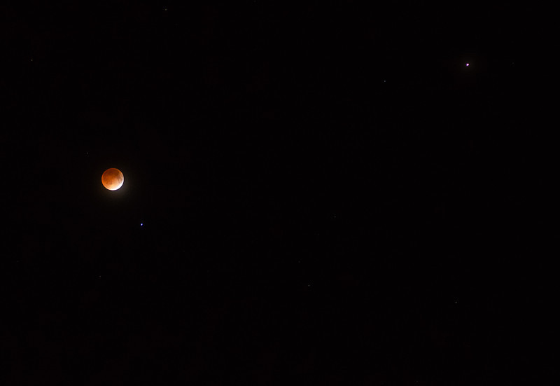 The moon with nearby Mars