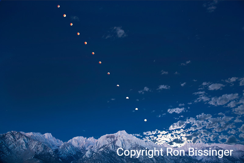 Eclipsing Moonset over Mount Whitney
