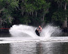 A wakeboarder takes his chances on the Suwannee River.