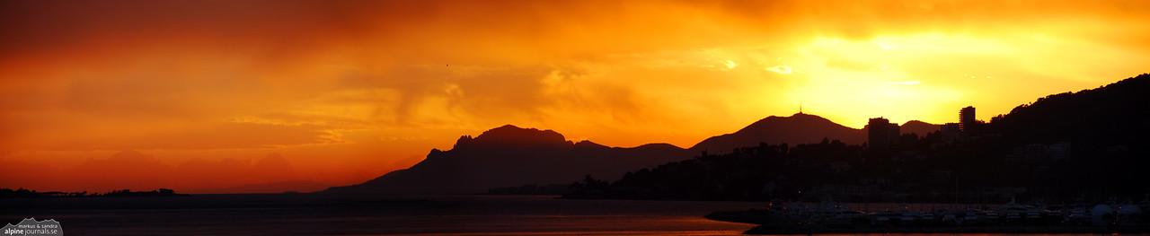 Sunset over the Esterel massif