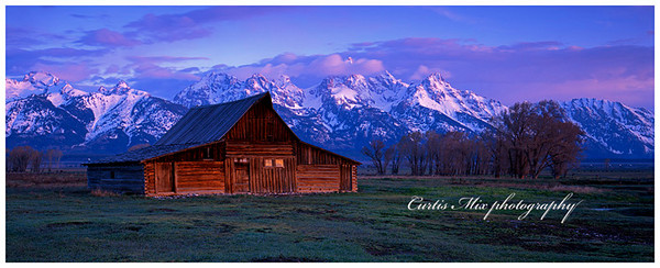 Mormon row sunrise in springtime. This was taken with 8x10 sheet film and cropped to a panoramic. You can see the drops of due on the blades of grass in this image at full size.