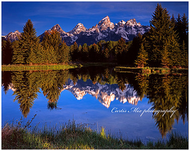Second light on the grand tetons.