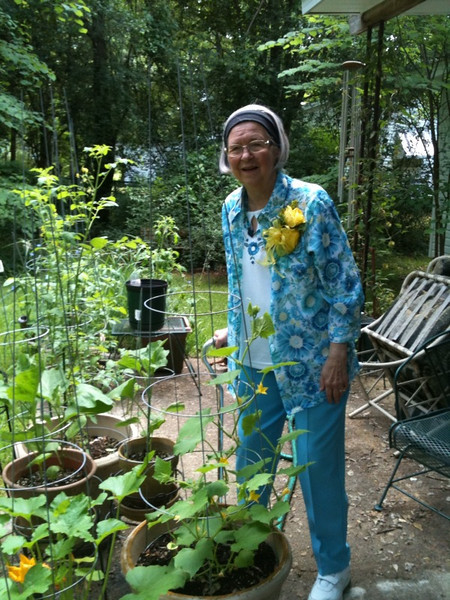 Mama and her container garden
