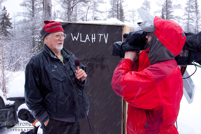 Image of Dr. Lynn Rogers being interviewed during the installation of a camera in Lily's den December 2010.