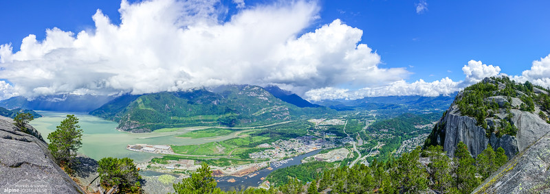 View from Stawamus Chief, the iconic mountain guarding over Howe Sound and Squamish town. The Chief is a world-class rock climbing destination, offering high quality granite climbing to suit almost any climber's style preference.