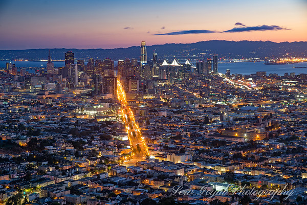 One of my favorites shots of the sleeping city as seen from Twin Peaks.  Taken about 30 minutes before the sun came over the horizon.