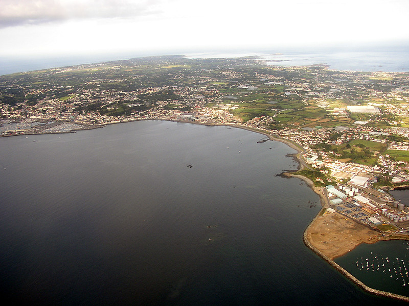 Aerial image of Belle Greve Bay forming a part of Guernsey's east coast