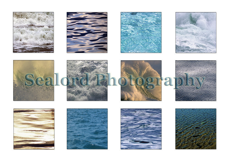 Sea surfaces postcard.  Images of Guernsey and Galapagos sea surfaces.