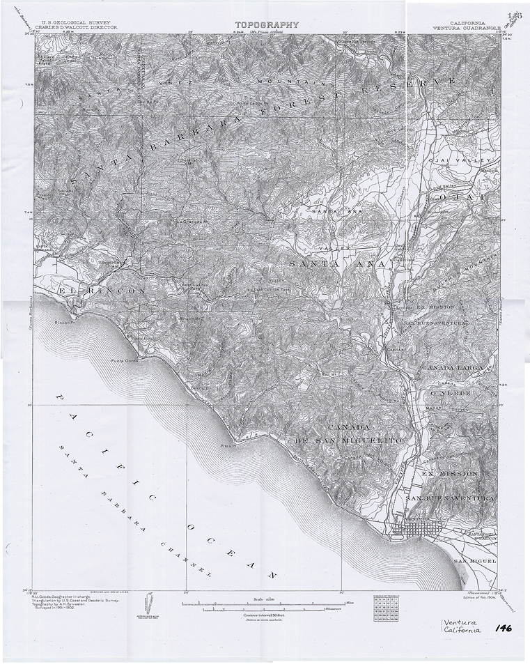 An old Topo map from 1902 of Ventura and Ojai showing some of Matilija. You can clearly see that there is no Casitas Lake or Dam, same with Matilija.