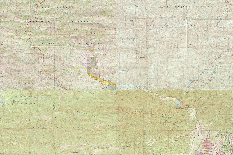 A more modern map of the Matilija area. This is drawn from four different Topo maps of the area.