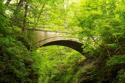 Arch footbridge across Upper Dells. Matthiessen State Park, Illinois