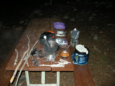 Cooking dinner at walk-in campsite #38, Cold Springs campground. Sticks and charcoal are fuel for stove. Punjabi Choli and tuna, mmmmm!