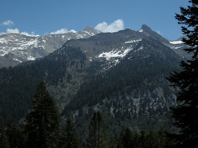 Looking east. The lighter-colored peak is Sawtooth; the darker pinnacle to the right is Mineral Peak.