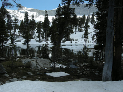 Small Lake #3, still mostly snowbound, looking south. Elevation here is about 9900 feet ASL.