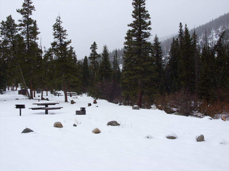 This is where we started walking. It's the Peaceful Valley campground and it is currently closed. Crews were working in the snow to prepare it for the season though.