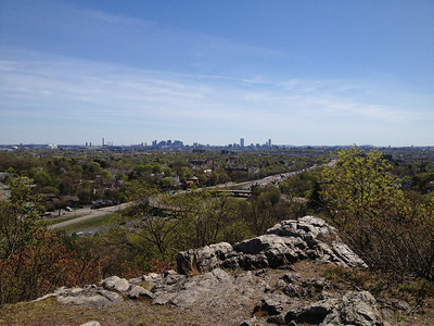 View of Boston from the top of the hill