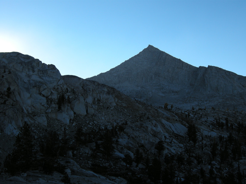 The harshly-pyramidal form of Florence Peak, 12432 feet elevation, to the west of our route.