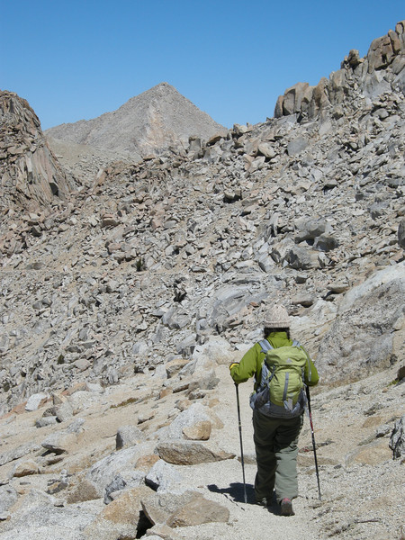 Franklin Pass trail, west side, with Sawtooth Peak (12,343 feet) in the distance.