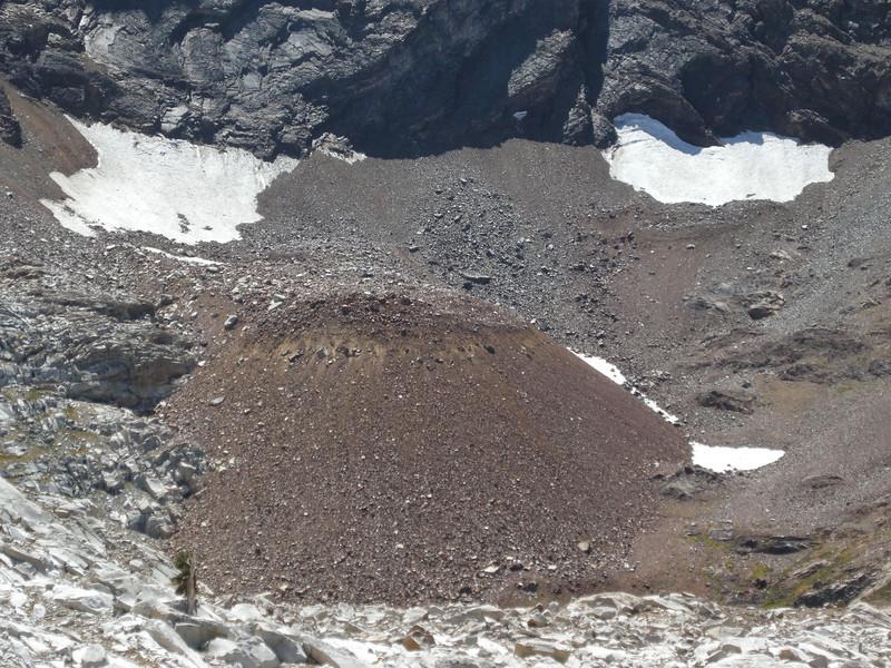 The rocky bulge of a rock glacier below the ridge west of Florence Peak.