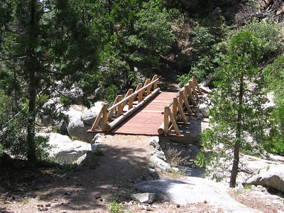 A nice bridge which crosses Eagle Scout Creek. This turns out to be a Bridge to Nowhere as the bridge further on across the Middle Fork is washed out.