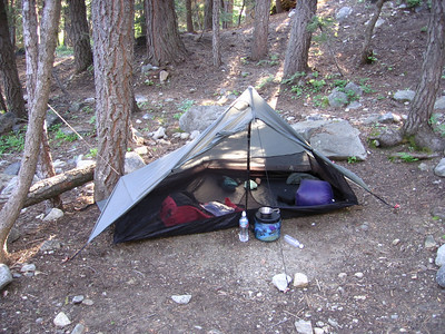 Breaking camp in Cold Springs campground, Mineral King, Sequoia National Park, near the Timber Gap trailhead, having driven up the night before. Shelter is a Six Moon Designs Lunar Solo E.  See my personal web page at:  http://bryanlallen.googlepages.com