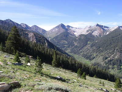 Nearing the top of Timber Gap, looking back south. White Chief basin is the large granitic cirque to the right of Vandever Mountain in the center of the photo.