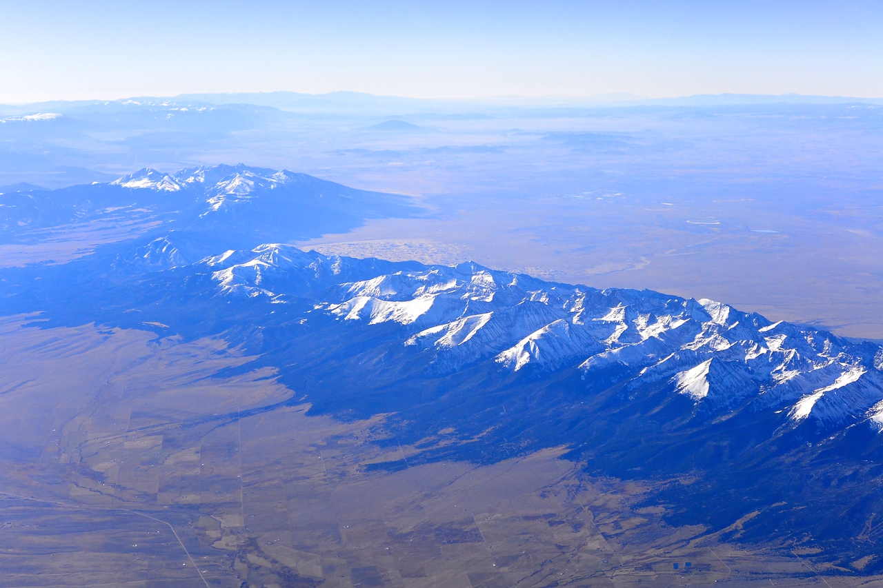 Sangre de Cristo Mountains from the plane, on the flight to Grand Junction