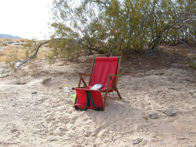 My retreat in the dunes. I ate my lunch, read a Pema Chodron book, and meditated. What little breeze there was was deflected by the nearby creosote bush.