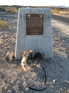 The trail to the crater is beyond Bela's range, but he certainly is still capable of doing the Dog Thing to roadside plaques!