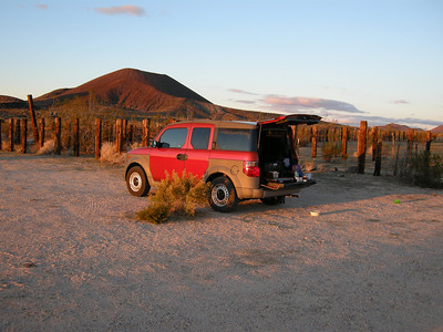 Parked at the corral & water tank area along the Aiken Mine road. Cinder cones in distance. The Element was in its element, and color-coordinated with the surroundings!