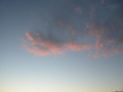 Evening clouds, wispy.