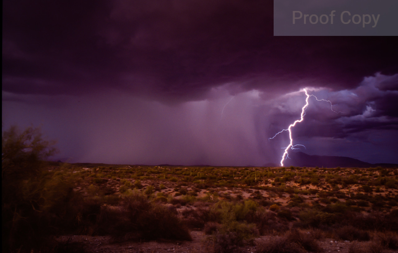 Microburst With Strike At Twilight-Four Peaks Wilderness Area