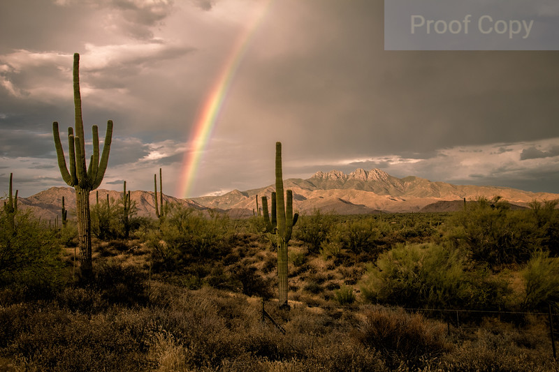 Sunset Rainbow Over Four Peaks