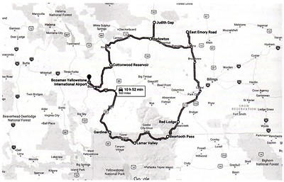 General route of our trip, starting and ending in Bozeman, traveling clockwise