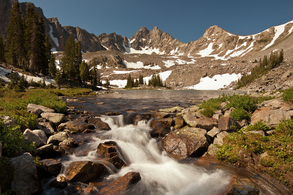 Hilgard Lake Outlet and Hilgard Peak, South Hilgard Basin, Lee Metcalf Wilderness, MT